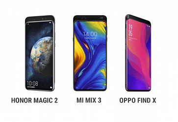 Сравнение Xiaomi Mi Mix 3, Oppo Find X и Honor Magic 2
